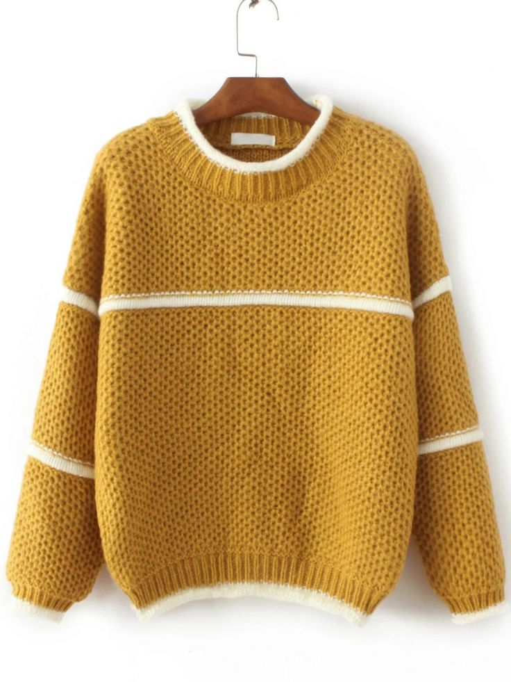 yellow sweater buy yellow contrast trim crew neck sweater from abaday.com, free shipping  worldwide iqvfxue
