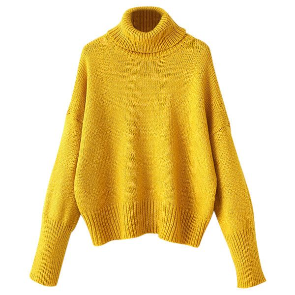 yellow sweater roll neck oversized jumper (1 090 uah) ❤ liked on polyvore featuring tops, rkaipud